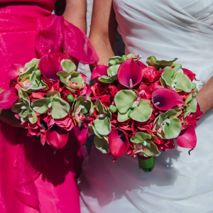 Hot pink calla lime orchid tropical wedding bouquet