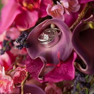 Hot pink orchid plum calla wedding bouquet