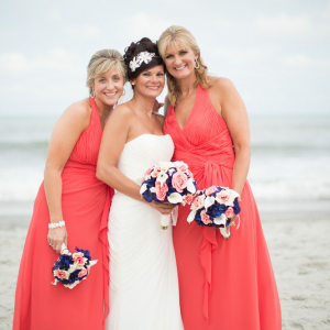 Coral navy calla wedding bouquet
