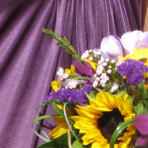 Sunflower purple orchid wedding bouquet