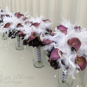 Plum calla, feather pearl centerpieces