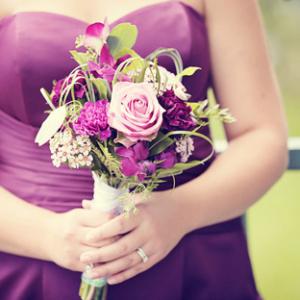 Purple lavender orchid wedding bouquet