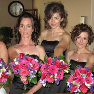 Hot pink calla purple orchid wedding bouquet