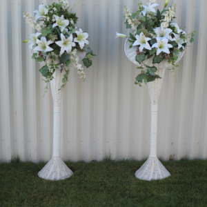 Tall flower wicker basket arrangements