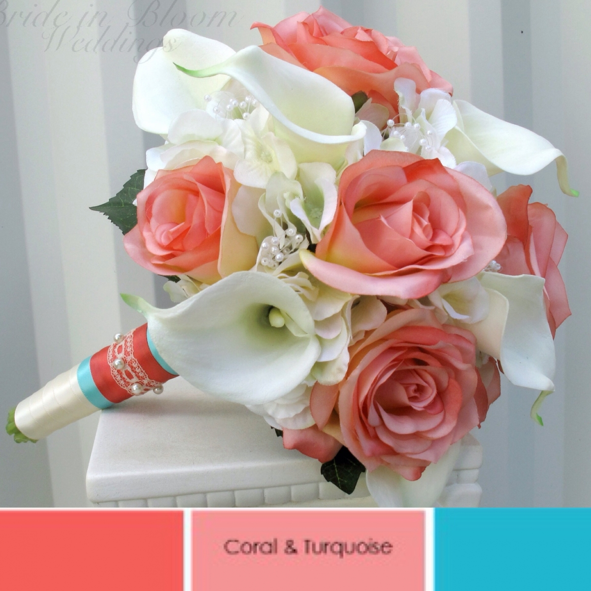 Coral and cream wedding bouquet