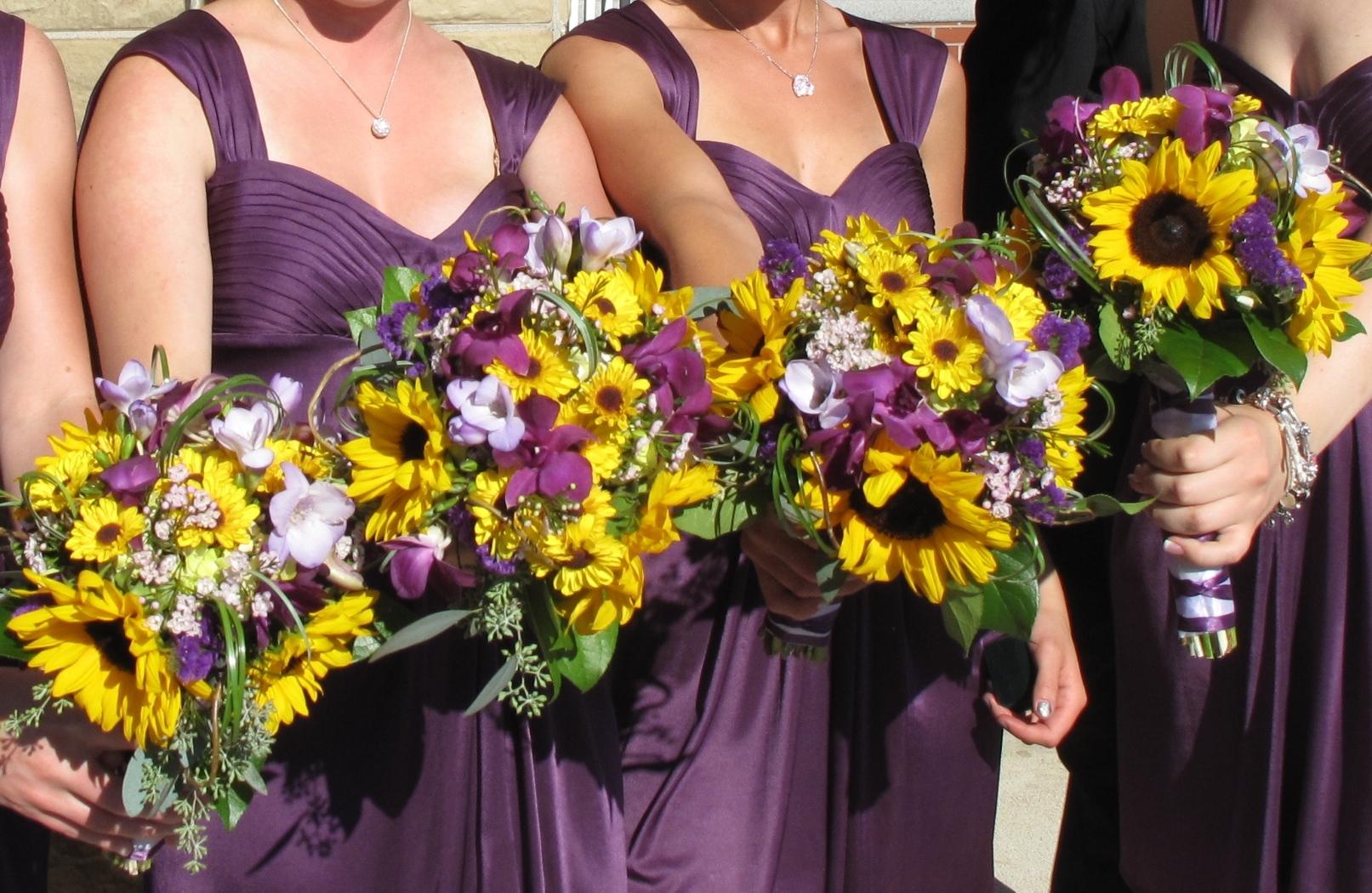 Sunflower Purple Orchid Wedding Bouquet Bride In Bloom
