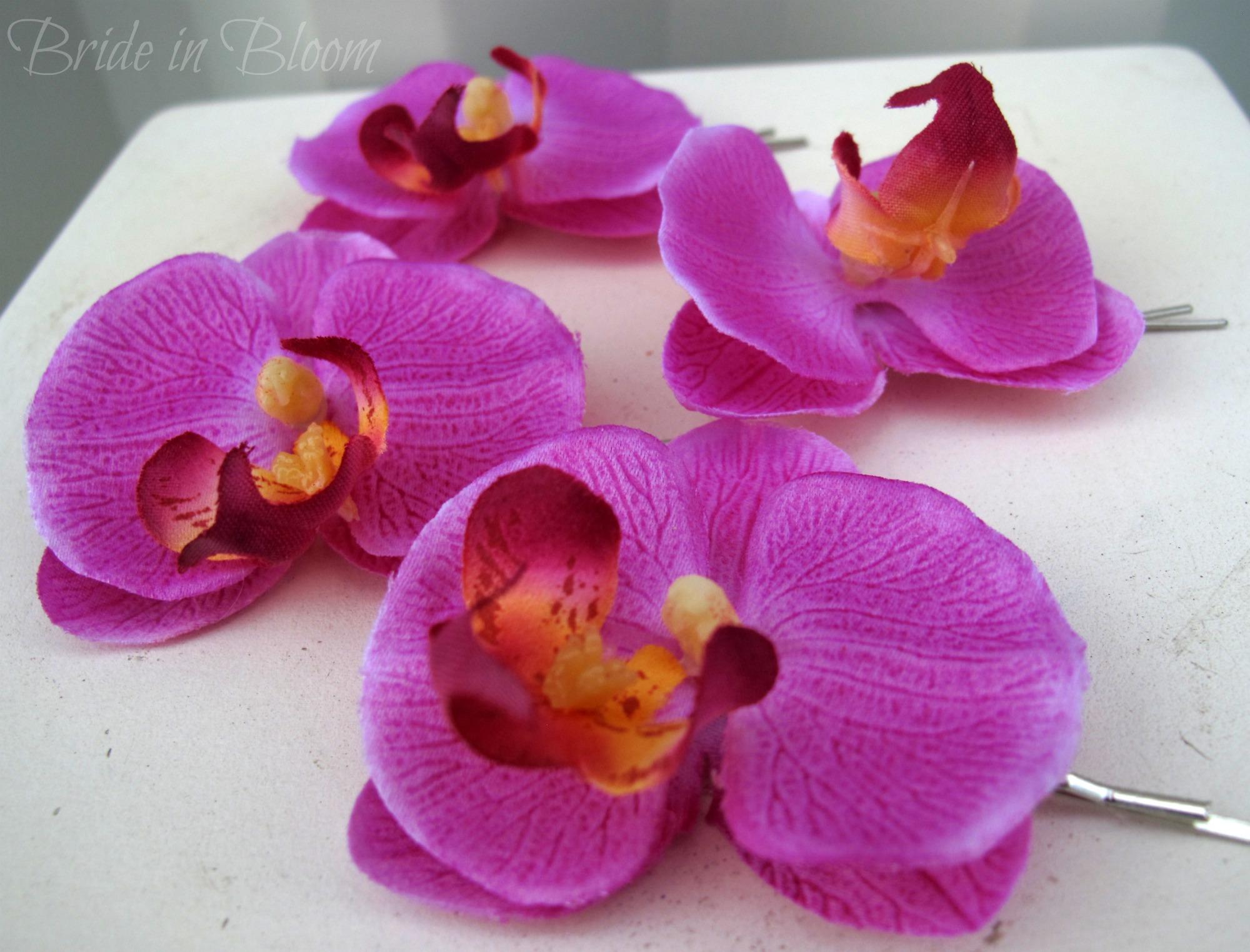 wedding hair accessories lavender orchid bridal hair pins | bride